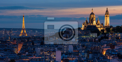 Papiers peints Tour Eiffel et le Sacré Coeur au couché de soleil