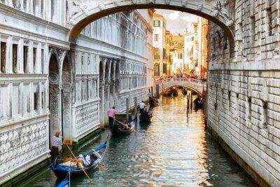 Papiers peints Touristes, gondoles, voile, sous, pont, soupirs, Venise