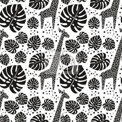 Tournesol Noir Et Blanc Et Feuilles De Palmier Animal De Jungle