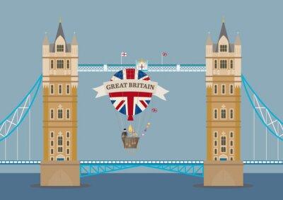 Papiers peints Tower Bridge à Londres avec ballon à air chaud
