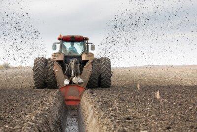 Papiers peints Tracteur, double, roue, ditcher, creuser, drainage, canal