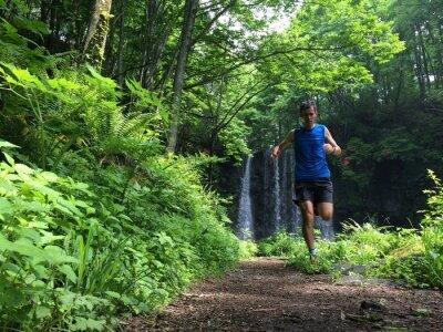 Papiers peints Trail runner on woodland path