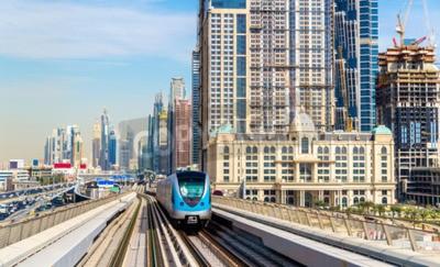 Papiers peints Train, métro, rouge, ligne, Dubaï