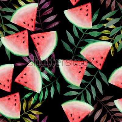 Papiers peints Tranche de melon d'eau avec motif sans soudure de feuilles tropicales sur fond noir, aquarelle, design pour le concept de vacances d'été heureux.