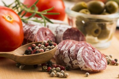 Papiers peints tranches de saucisse de porc espagnol
