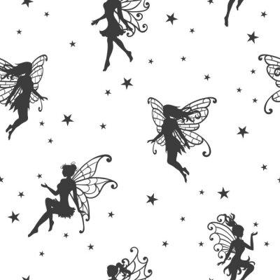 Papiers peints Transparente motif magique avec des fées et des étoiles.