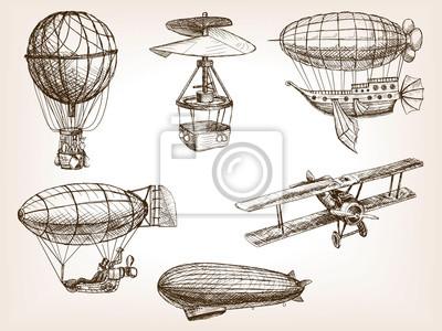 Transport aérien, vendange, main, dessiné, croquis, vecteur