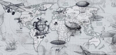 Papiers peints travel across the globe, balloons, aircraft, cars, ships photo wallpapers on the wall