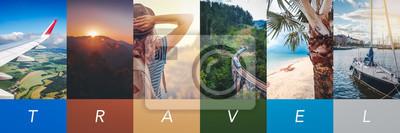 Papiers peints Travel concept background. Summer concept.  Header format with copyspace, vertical stories