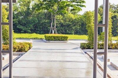 Papiers peints Traversée de chemins en béton dans un jardin vert paisible