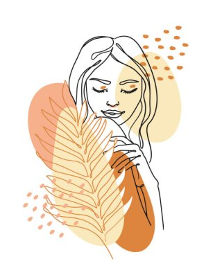Papiers peints Trendy abstract continuous one line woman portrait with palm leaf and geometric shapes. Vector.