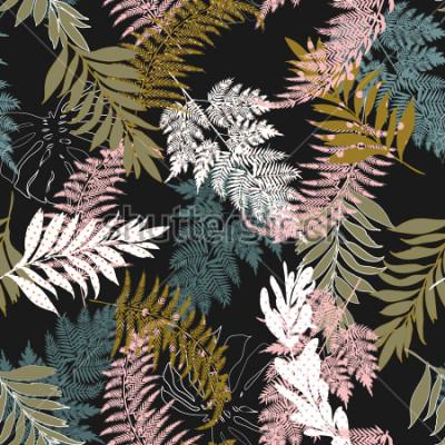 Papiers peints Trendy Dark Beautiful beaucoup de types de feuilles remplissent avec motif à pois et silhouette vecteur ligne convient à la mode, le tissu et toutes les impressions sur la couleur de fond noir