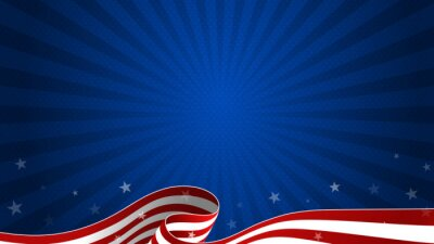 Papiers peints Trendy Fourth of July dark blue background with waving USA flag and starburst. 4th July greeting card, postcard, sale banner, discount banner template. Vector design.