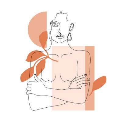 Papiers peints Trendy one line woman body with abstract geometric shapes. Girl crossing arms on her chest. Elegant continuous line print for textile, poster, card, t-shirt etc. Vector fashion illustration.