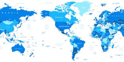 Papiers peints Très détaillée vecteur illustration de la carte mondiale. Image contient contours terrestres, les noms de pays et de pays, les noms de ville, les noms d'objets de l'eau.