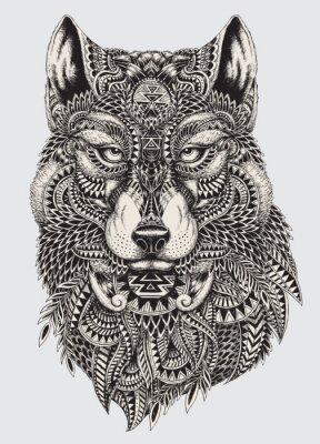 Papiers peints Très résumé détaillé loup illustration