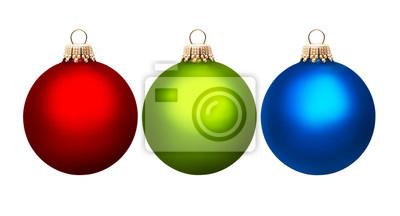 Trois boules de Noël colorées