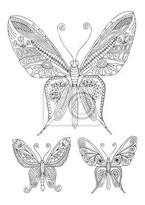 Coloriage Adulte Animaux Fantastiques.Trois Fantastiques Papillons Decoratifs Image Dessinee A La Papier