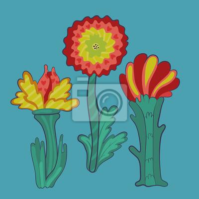 trois fleurs rétro