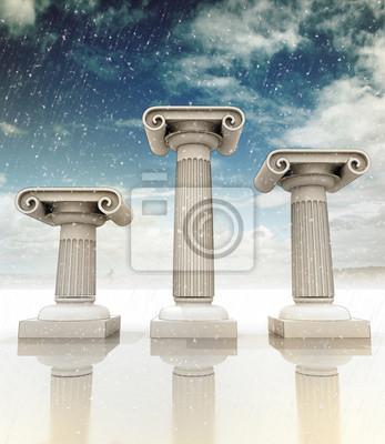 trois grec ancien colonnes ioniennes hiver