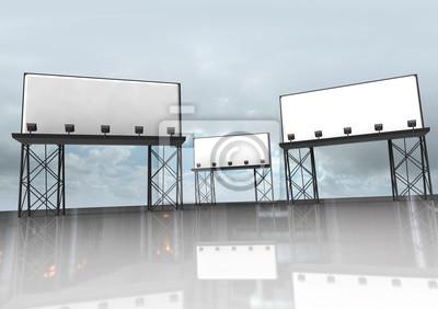 trois panneaux clairs construction avec des réflecteurs