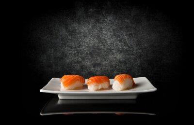 Papiers peints Trois, sushi, noir