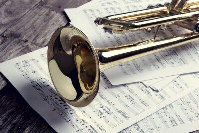 Papiers peints Trompette, feuille, musique, vieux, bois, table Style vintage.