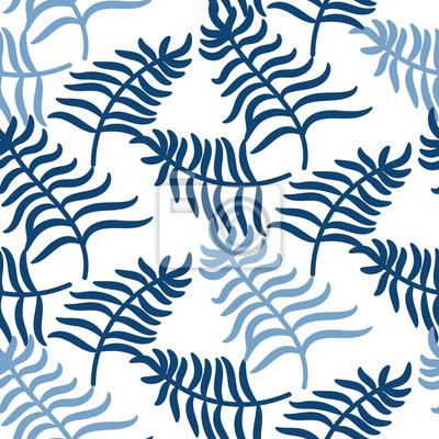 Tropical Feuilles De Palmier Jungle Bleu Fond De Modele De Couleur