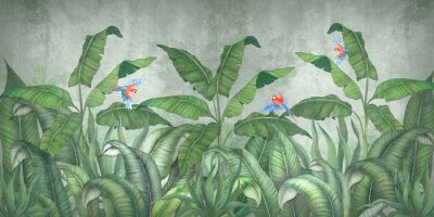 Papiers peints Tropical jungle with flying parrots. Against the background of textured plaster.