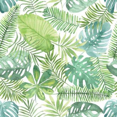 Papiers peints Tropical modèle sans soudure avec des feuilles. Aquarelle de fond avec des feuilles tropicales.