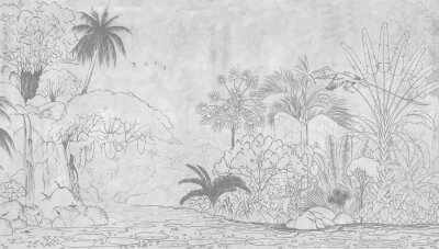 Papiers peints Tropical nature landscape, jungle with exotic tropical plants, flowers and leaves. Drawn jungle illustration. Design  for card, postcard, wallpaper, photo wallpaper, mural.