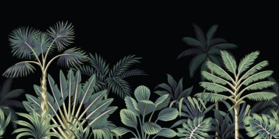 Papiers peints Tropical night vintage palm tree, banana tree and plant floral seamless border black background. Exotic dark jungle wallpaper.