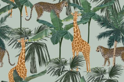 Papiers peints Tropical seamless pattern with palm trees, giraffes and leopards. Summer yungle background. Vintage vector illustration. Rainforest landscape