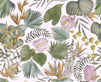 Papiers peints Tropical seamless pattern with tropical flowers, banana leaves.  Round palm leaves, watercolor painted