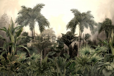 Papiers peints tropical trees and leaves wallpaper design in foggy forest - 3D illustration