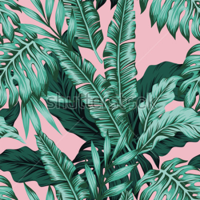 Papiers peints Tropical vector green leaves seamless pattern pink background. Exotic wallpaper