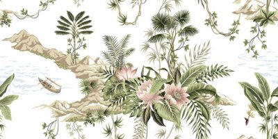Papiers peints Tropical vintage botanical island, palm tree, mountain, sea wave,boat, palm leaves, liana, lotus flower summer floral seamless pattern white background.Exotic jungle wallpaper.