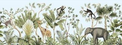 Papiers peints Tropical vintage botanical landscape, palm tree, banana tree, plant, palm leaves, giraffe, monkey, elephant floral seamless border blue background. Jungle animal wallpaper.