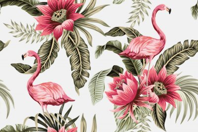 Papiers peints Tropical vintage pink flamingo, pink hibiscus, palm leaves floral seamless pattern grey background. Exotic jungle wallpaper.