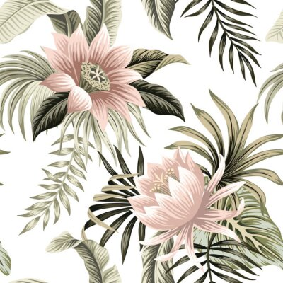 Papiers peints Tropical vintage pink lotus, palm leaves, banana leaves floral seamless pattern white background. Exotic jungle wallpaper.