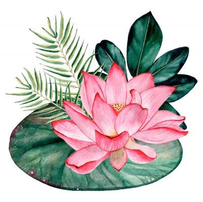 Papiers peints Tropical watercolor bouquet and composition
