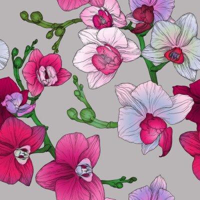 Papiers peints Tropique, floral, seamless, modèle, main, dessin, orchidée, fleurs