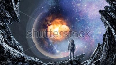 Papiers peints Trou de l'espace et astronaute. Technique mixte