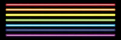 Papiers peints tubes néon arc-en-ciel horizontal sur fond noir, illustration vectorielle