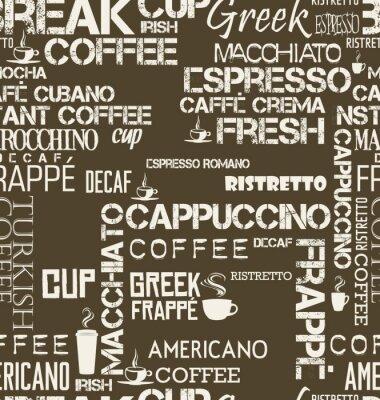 Papiers peints Tuile transparente de fond de mots et de symboles de café