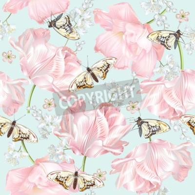 Papiers peints Tulip butterfly pattern