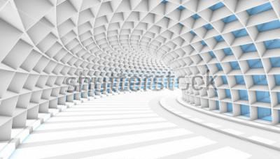 Papiers peints Tunnel abstrait blanc avec des fenêtres rectangulaires bleues. Illustration de rendu 3D