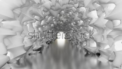 Papiers peints Tunnel blanc et lumière. Illustration 3D, rendu 3d.