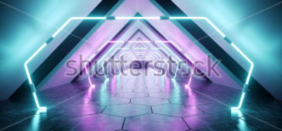 Papiers peints Tunnel de couloir en béton réfléchissant futuriste moderne extraterrestre salle vide avec des lumières rougeoyantes au néon pourpre et bleu fond hexagone étage rendu 3D Illustration