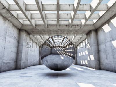 Papiers peints Tunnel en béton d'art concept avec boule en métal. Illustration 3D